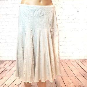 Club Monaco Pale Blue Linen Pleated Skirt
